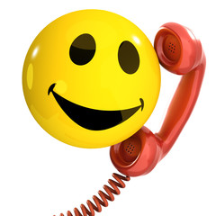 3d Smiley uses the telephone