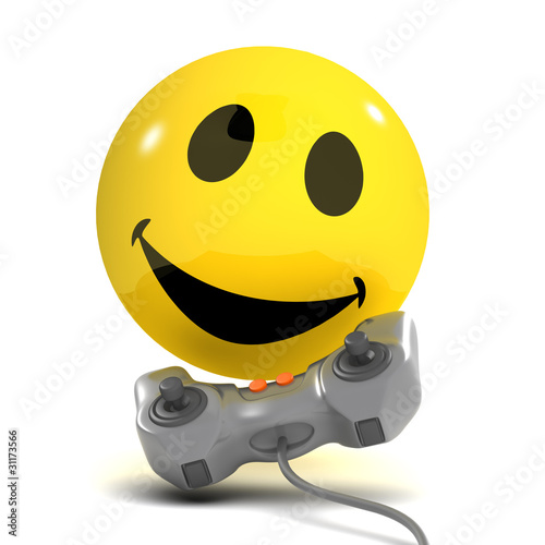 3d Smiley plays a videogame and has fun