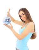 The girl with a mirror sphere on a white background