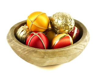 Easter eggs in a wooden bowl