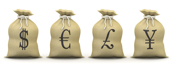 Bags of money with symbols of dollar, euro, pound and yen