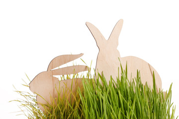 easter rabbits on grass