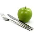 Apfel und Besteck