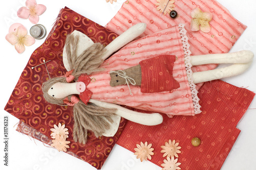 Textile handmade doll and sewing accessory - 31176323