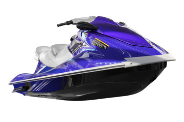 blue jet ski front view isolated on white
