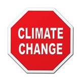 Climate change stop octagon sign poster