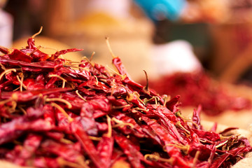Dried red hot chilly peppers
