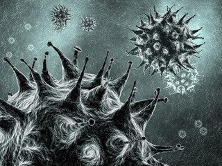 Viruses , detailed 3d illustration