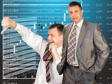 Teamwork of businessmen-brokers poster