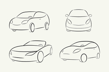 Cartoon vector silhouette of a car
