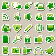 social Media Green Stickers