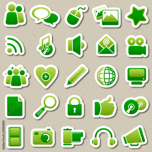 social Media Green Stickers