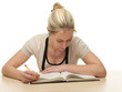 Young Woman Reading Books for School