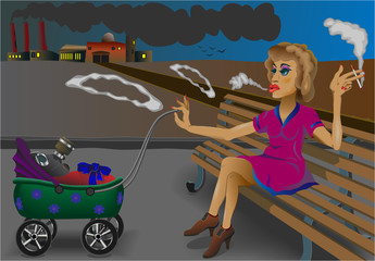 smoking mother and a baby on the background of the plant.