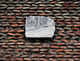 marble slab on antique brick wall poster