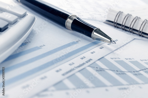 financial data concept with pen