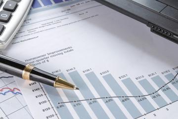 financial data concept with pen