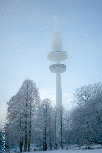 canvas print picture Heinrich-Hertz-Turm im Winter
