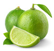 Fresh limes isolated on white