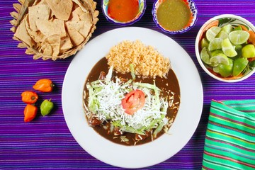 Mole enchiladas mexican food with chili sauces