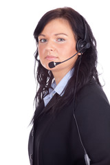 smiling call center young woman with a headset