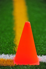 Cone on a turf field