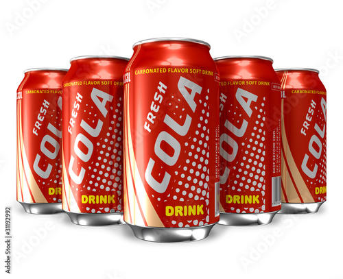 Set of cola drinks in metal cans