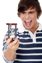 Young man with hourglass.