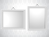 White Picture Frames on Wallpaper Background
