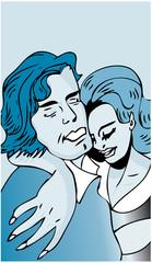Love, hug, kissing couple or drunk comic illustration