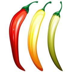 Peperoncini Piccanti Tricolori-Hot Chili Pepper 3 Colors-Vector