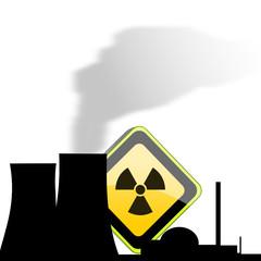 Atomkraftwerk mit Schild
