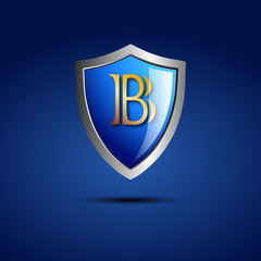 Logo shield initial letter B # Vector