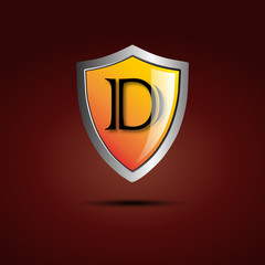 Logo shield initial letter D # Vector
