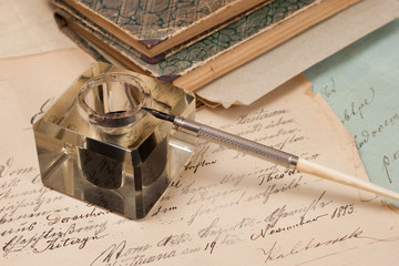 Vintage background with old paper, old ink pen, handwrite letter