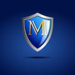 Logo shield initial letter M # Vector
