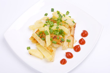 Fried potato with green onions