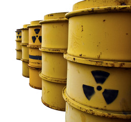 Tuns with radioactive warning symbol Isolated On White