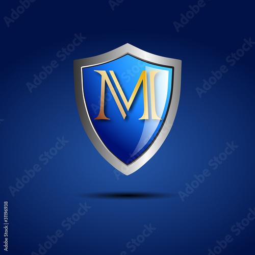 letter m logo. Logo shield initial letter M #