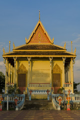Pagoda with a blue sky near Kampong Cham, Cambodia