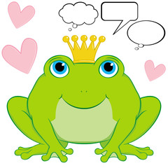 Vector cute frog prince with speech and thought bubbles