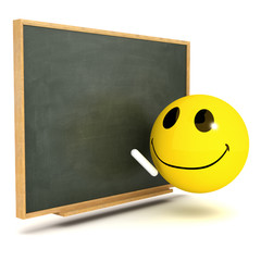 3d Smiley at the blackboard