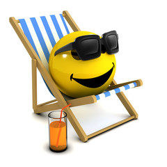 3d Smiley in a deckchair with a drink