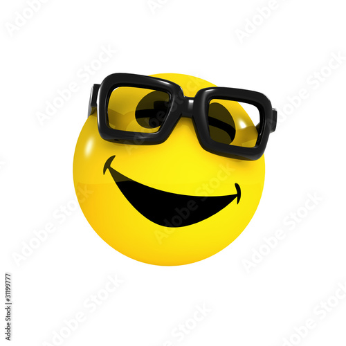 3d Smiley wears some glasses