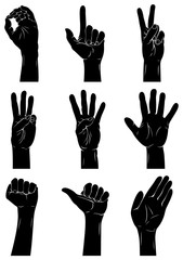 Hand Signs: Silhouettes