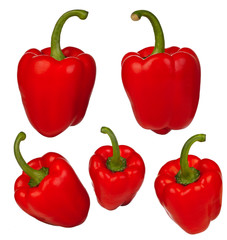 Muliple peppers on white background (isolated)