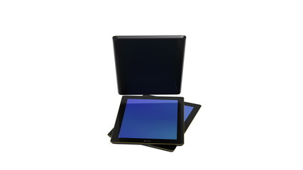 Black tablet pc. With alpha channel.