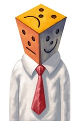 Businessman head is made up of three colorful tiles