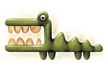 Crocodile with wide opened mouth and big teeth