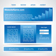Modern website template in three main elements